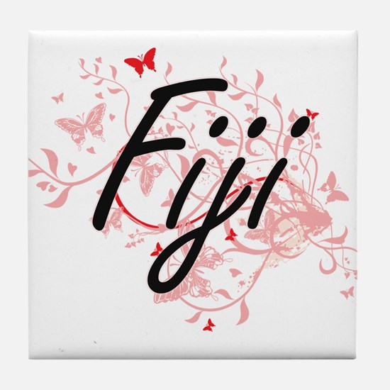 Fiji Artistic Design with Butterflies Tile Coaster