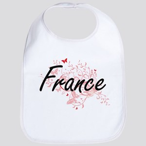 France Artistic Design with Butterflies Bib