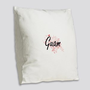 Guam Artistic Design with Butt Burlap Throw Pillow