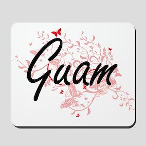 Guam Artistic Design with Butterflies Mousepad