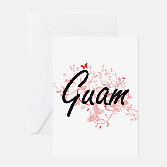 Guam Artistic Design with Butterfli Greeting Cards