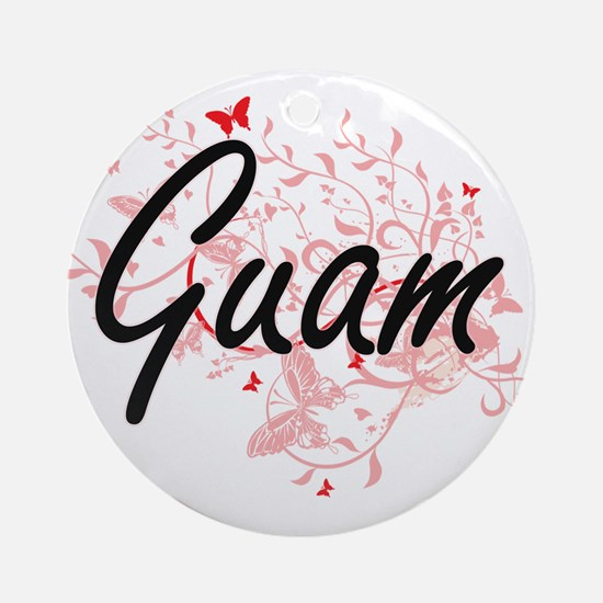 Guam Artistic Design with Butterfli Round Ornament