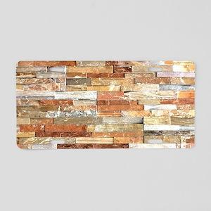orange stone brick mosaic Aluminum License Plate