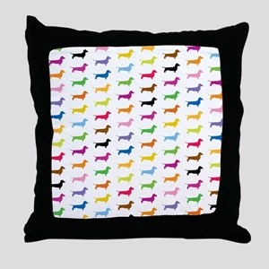 Colorful Dachshunds Throw Pillow