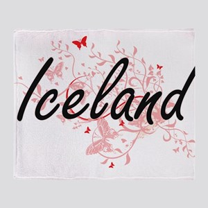 Iceland Artistic Design with Butterf Throw Blanket