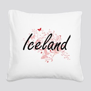 Iceland Artistic Design with Square Canvas Pillow