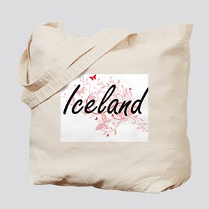 Iceland Artistic Design with Butterflies Tote Bag