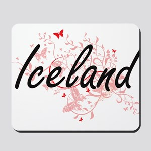 Iceland Artistic Design with Butterflies Mousepad