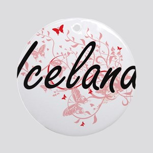 Iceland Artistic Design with Butter Round Ornament