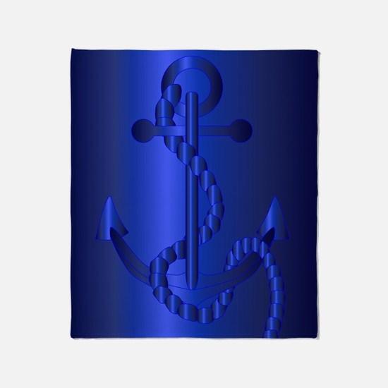 Cute Boat fish captain anchor sea ocean vessel tug ship Throw Blanket