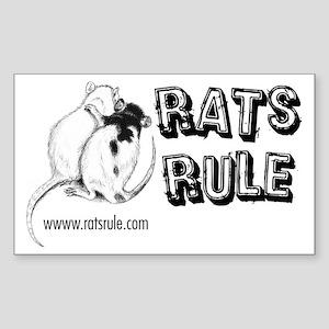 Rats Rule Rat Hug Rectangle Sticker