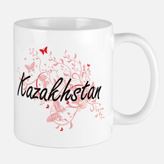 Kazakhstan Artistic Design with Butterflies Mugs