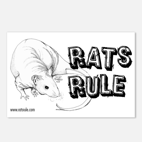 Rats Rule Hairless Postcards (Package of 8)