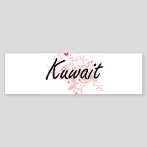 Kuwait Artistic Design with Butterf Bumper Sticker