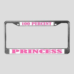 100 Percent Princess License Plate Frame
