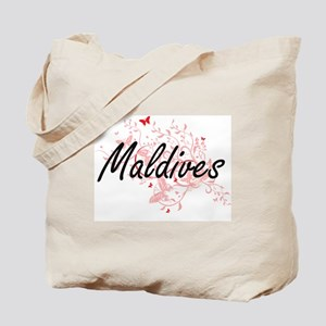 Maldives Artistic Design with Butterflies Tote Bag
