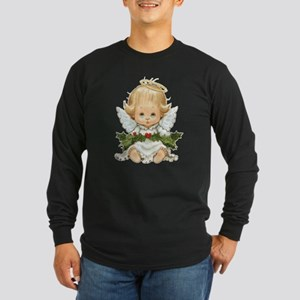 Cute Christmas Baby Angel and Holly Long Sleeve T-