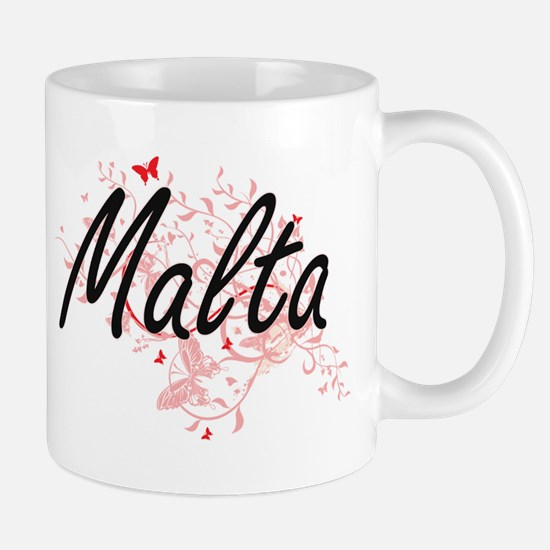 Malta Artistic Design with Butterflies Mugs