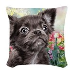 Chihuahua Painting Woven Throw Pillow