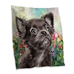 Chihuahua Painting Burlap Throw Pillow