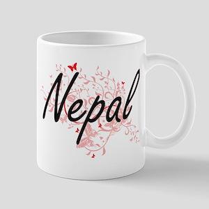 Nepal Artistic Design with Butterflies Mugs