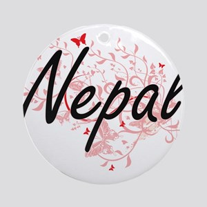 Nepal Artistic Design with Butterfl Round Ornament