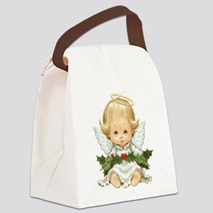 Cute Christmas Baby Angel and Holly Canvas Lunch B