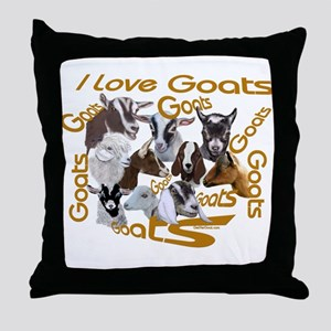 I love Goat Breeds Throw Pillow
