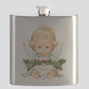 Cute Christmas Baby Angel and Holly Flask
