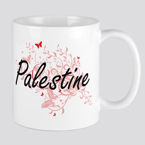 Palestine Artistic Design with Butterflies Mugs