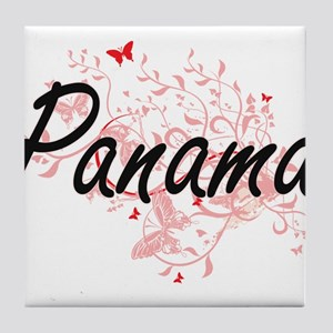 Panama Artistic Design with Butterfli Tile Coaster
