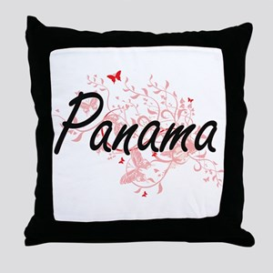 Panama Artistic Design with Butterfli Throw Pillow