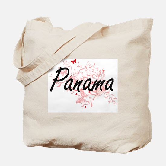 Panama Artistic Design with Butterflies Tote Bag