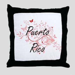 Puerto Rico Artistic Design with Butt Throw Pillow