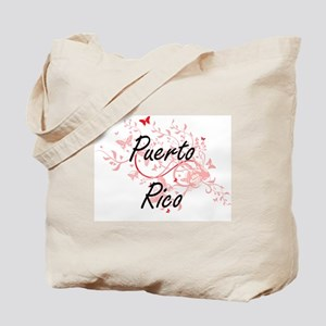 Puerto Rico Artistic Design with Butterfl Tote Bag