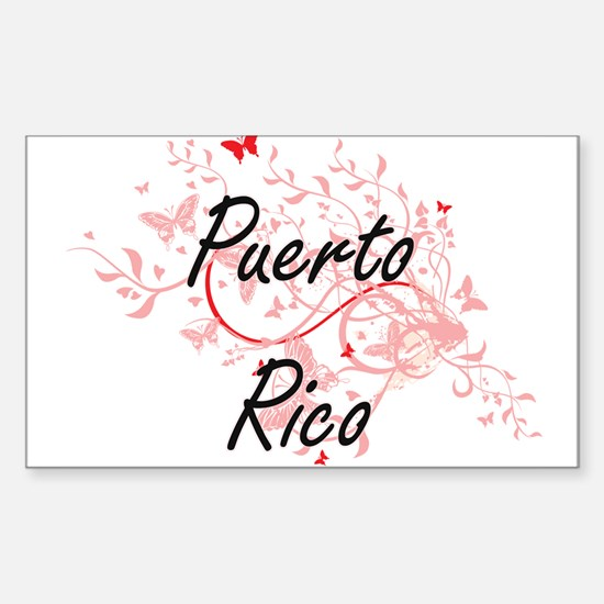 Puerto Rico Artistic Design with Butterfli Decal