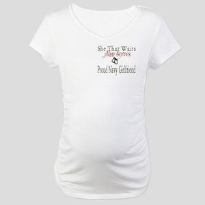 proud navy girlfriend Maternity T-Shirt
