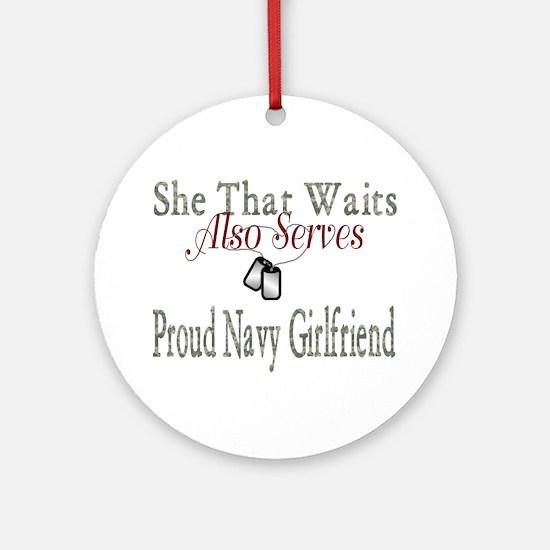 proud navy girlfriend Ornament (Round)