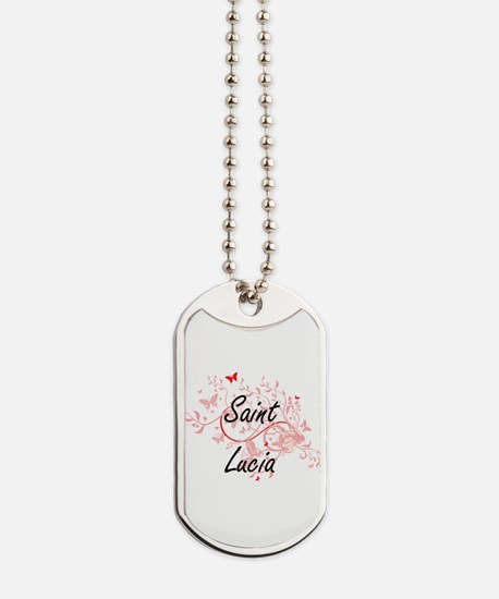 Saint Lucia Artistic Design with Butterfl Dog Tags