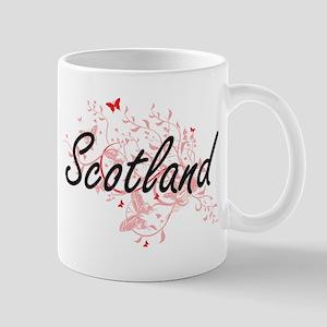Scotland Artistic Design with Butterflies Mugs