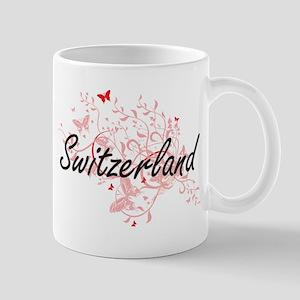 Switzerland Artistic Design with Butterflies Mugs