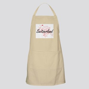 Switzerland Artistic Design with Butterflies Apron