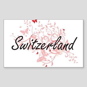 Switzerland Artistic Design with Butterfli Sticker