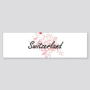 Switzerland Artistic Design with Bu Bumper Sticker