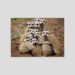 Meercat Family 5'x7'Area Rug