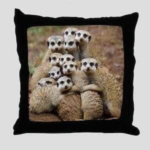 Meercat Family Throw Pillow