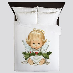 Cute Christmas Baby Angel And Holly Queen Duvet