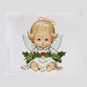 Cute Christmas Baby Angel And Holly Throw Blanket