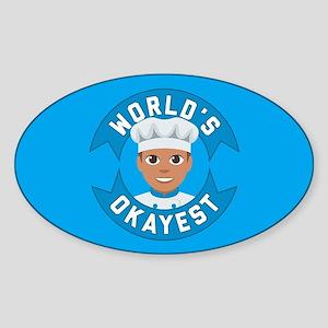 Emoji Worlds Okayest Baker Sticker (Oval)