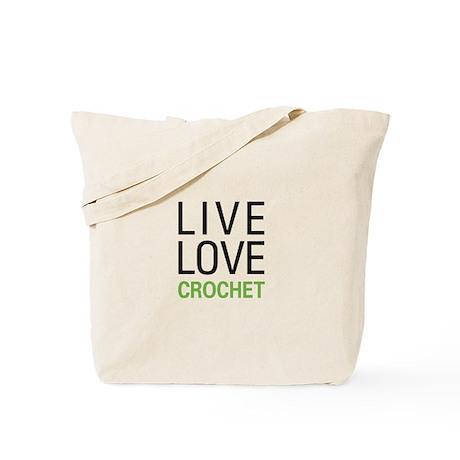 Live Love Crochet Tote Bag
